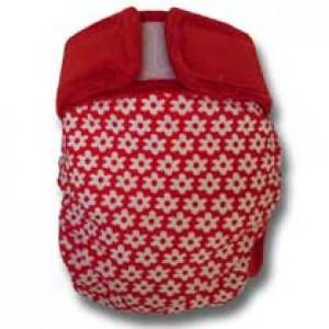 culotte lavable Champs de fleurs rouges